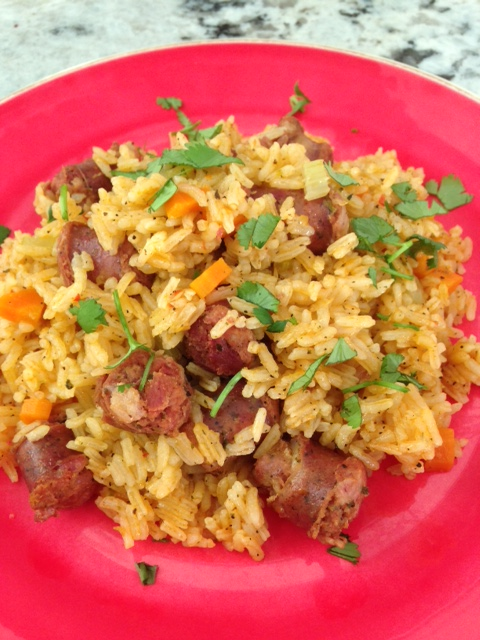 Dominican pork sausage and rice (locrio de longaniza)