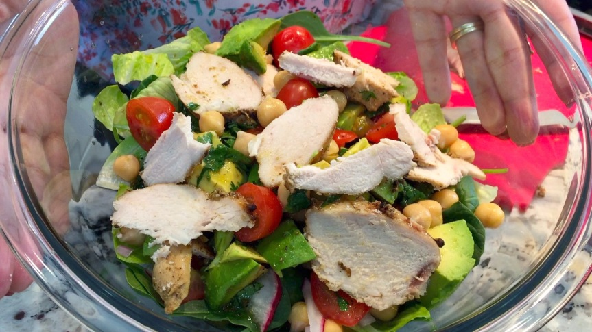 avocado & garbanzo salad with cumin vinaigrette